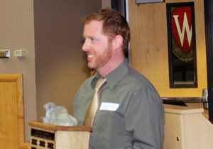 An academic staff member received an award at the ceremony in April.