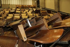 Chairs are being removed from the lecture halls.