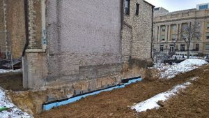 The Crossing will have a new stone facing on this wall